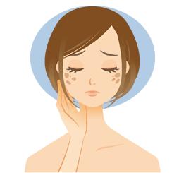 肌全体にシミや肝斑、くすみがある方
